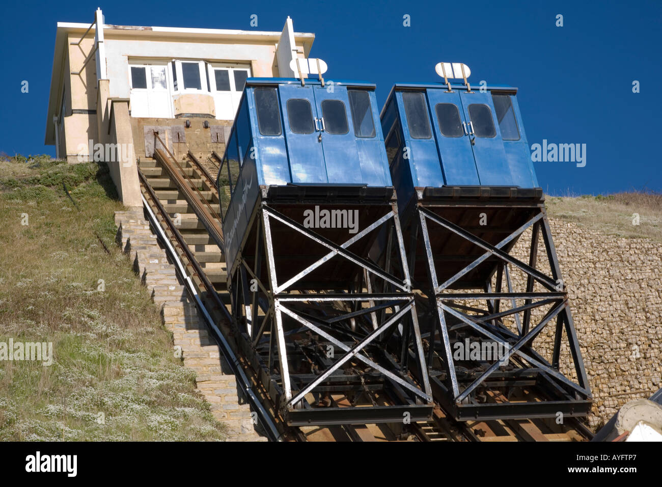'The cliff lift at Fisherman's Walk Southbourne Dorset offers a civilised way of travelling to the beach' - Stock Image