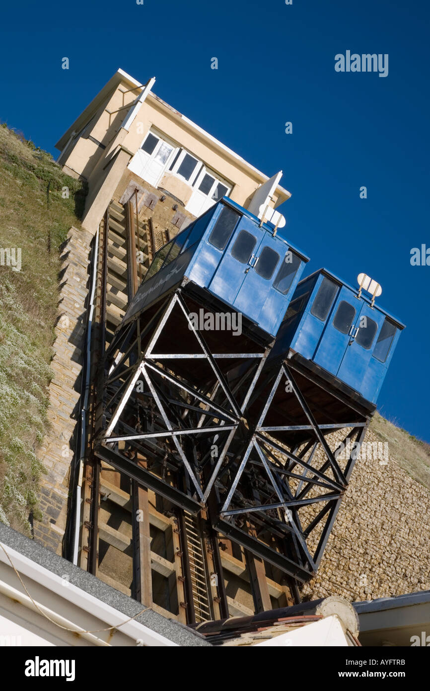 The cliff lift at Fisherman's Walk Southbourne Dorset offers a civilised way of travelling to the beach - Stock Image
