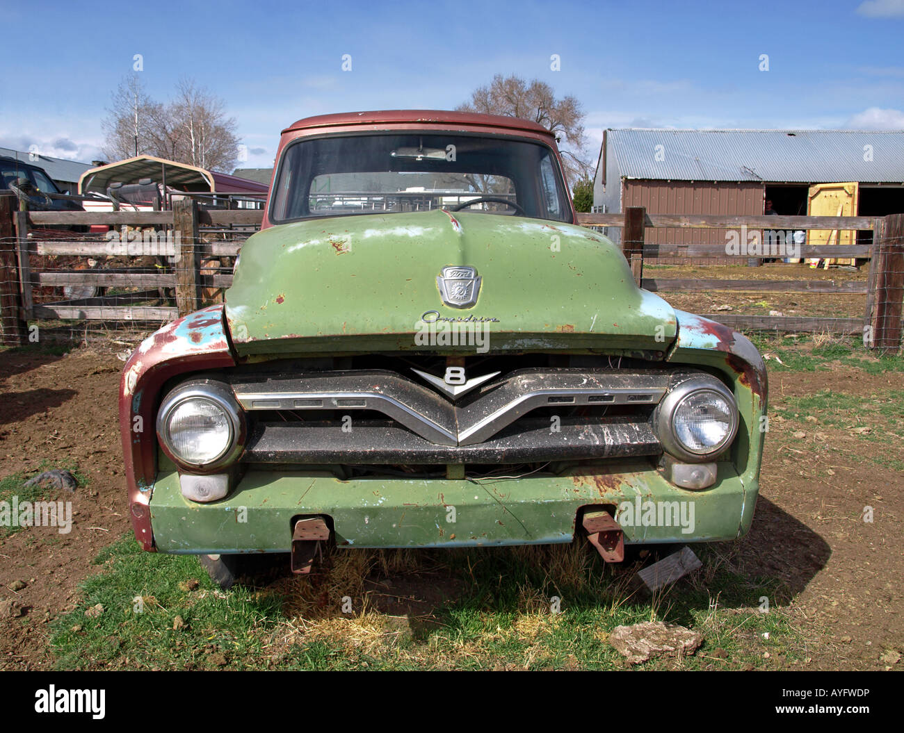 1955 Ford Pickup Truck Stock Photos F100 Side Mirrors Usa Oregon Bend A In Farm Field Near Tumalo