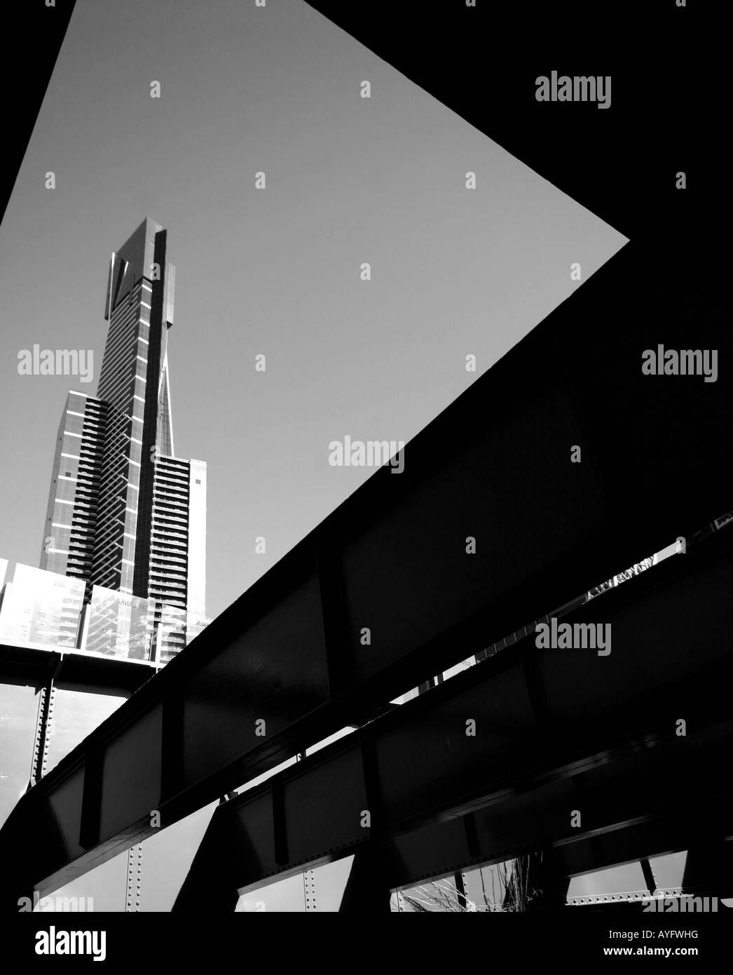 Black and white building angles melbourne australia - Stock Image