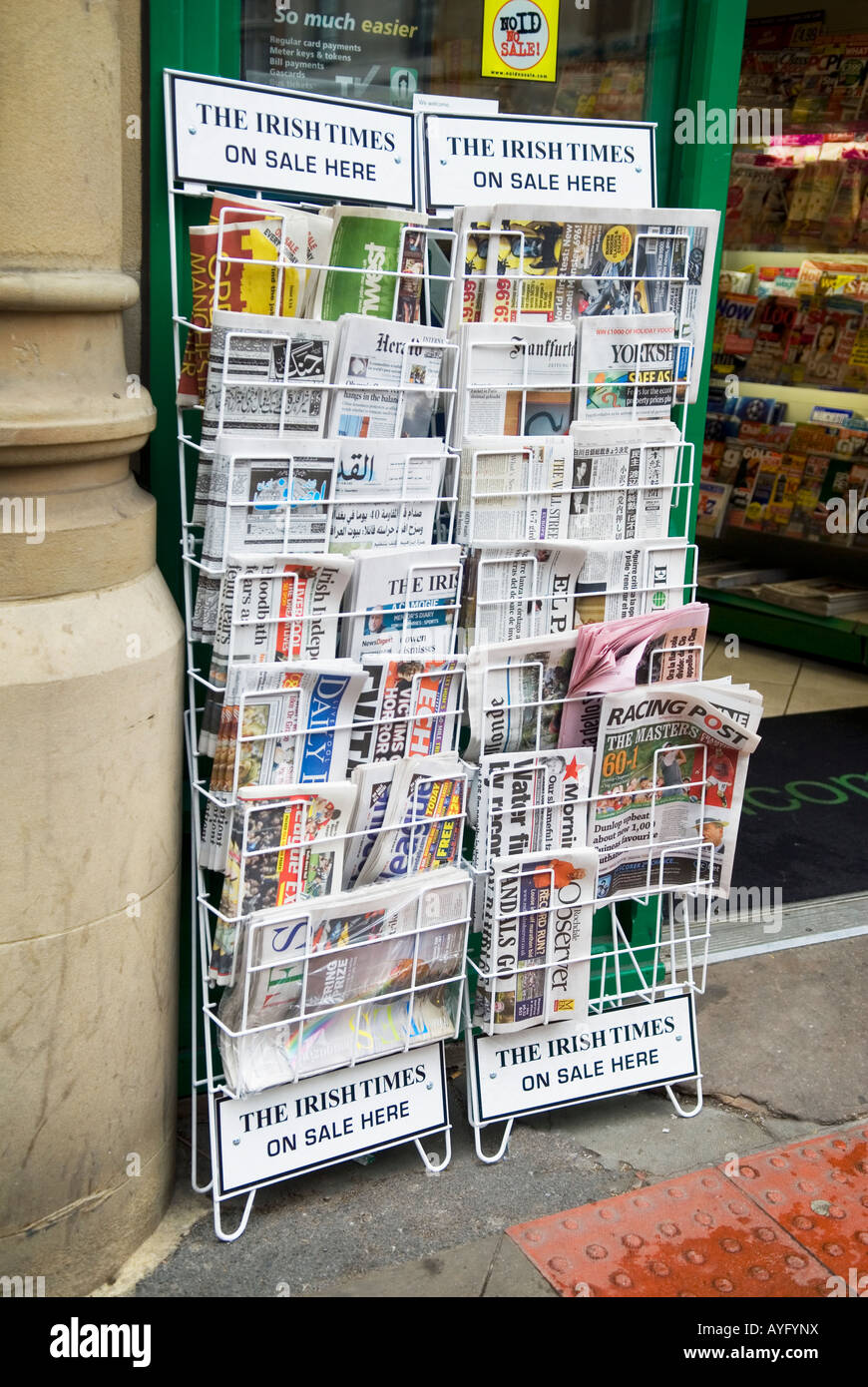 International newspapers on a news stand Manchester UK Stock Photo