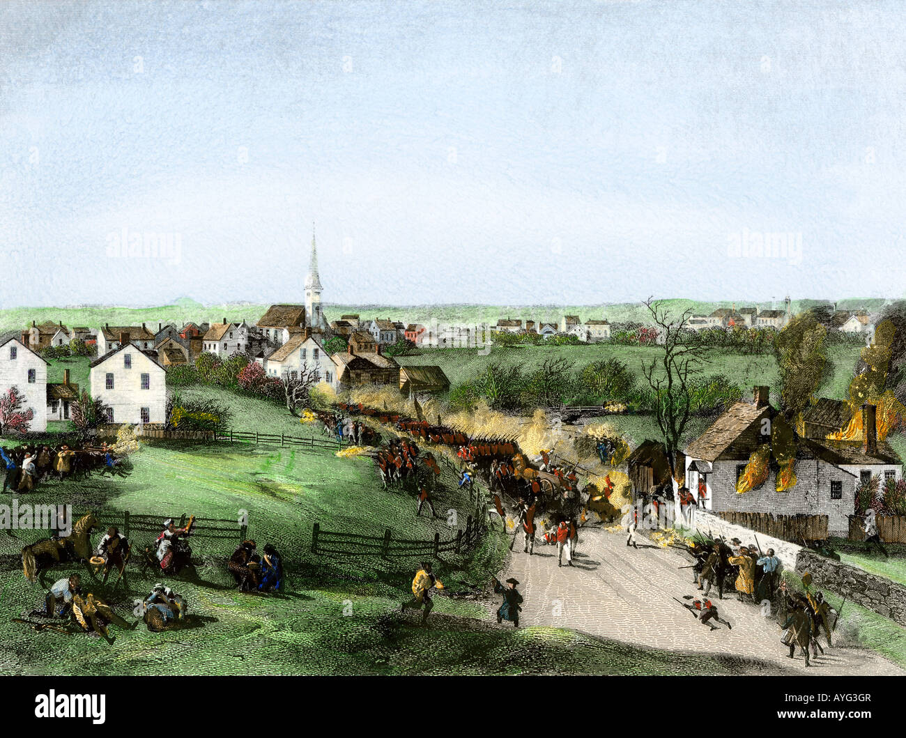 Retreat of the British from Concord at the outset of the American Revolution 1775. Hand-colored steel engraving Stock Photo