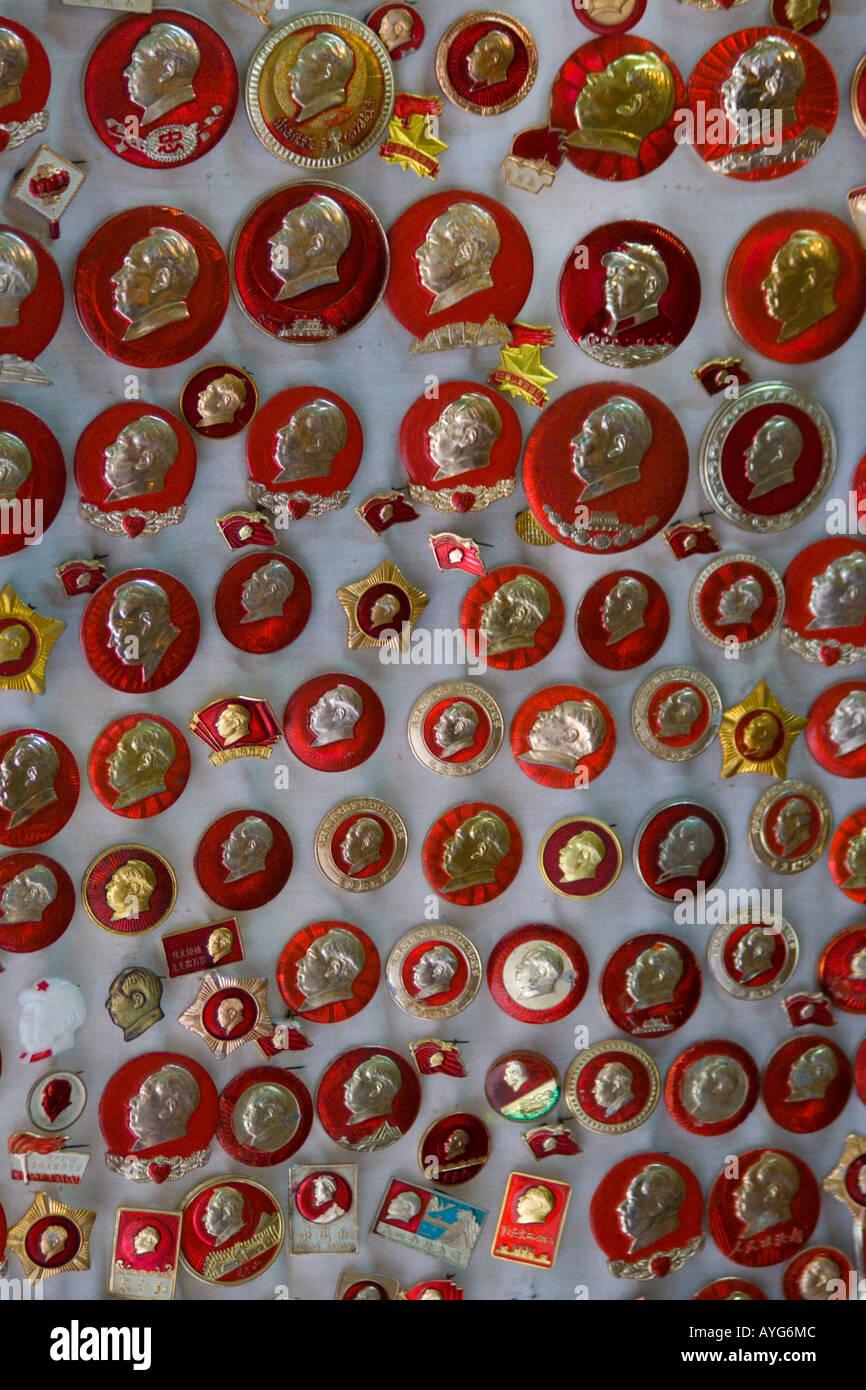 87cae6b3fea Old Souvenir Communist Pins for Sale Cat Street Antique Market Uppler  Lascar Row Hong Kong SAR China