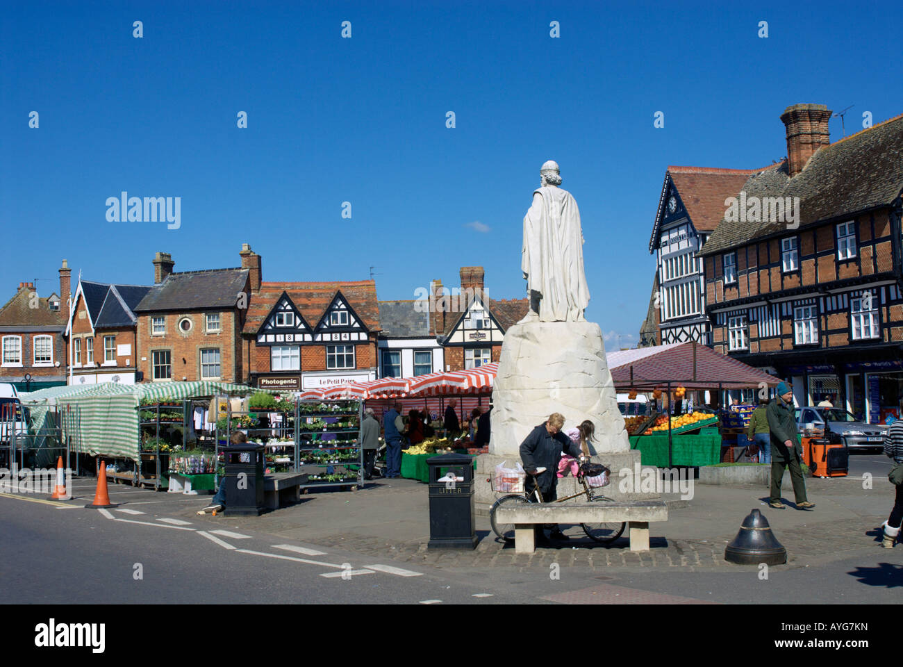 Market Day in Wantage, Oxfordshire, England - Stock Image
