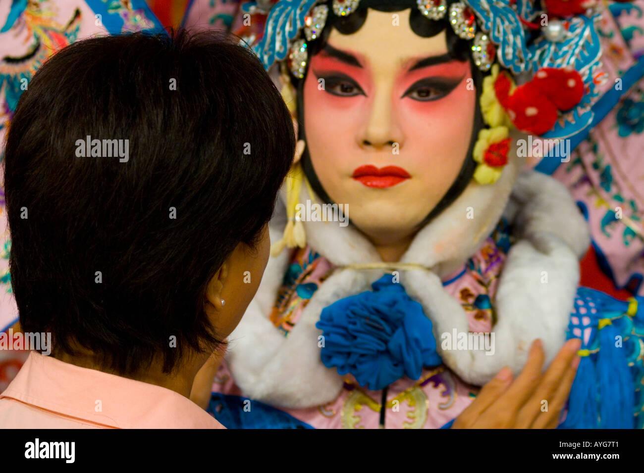 Fixing Makeup on Stage Zhengyici Peking Opera House Beijing China