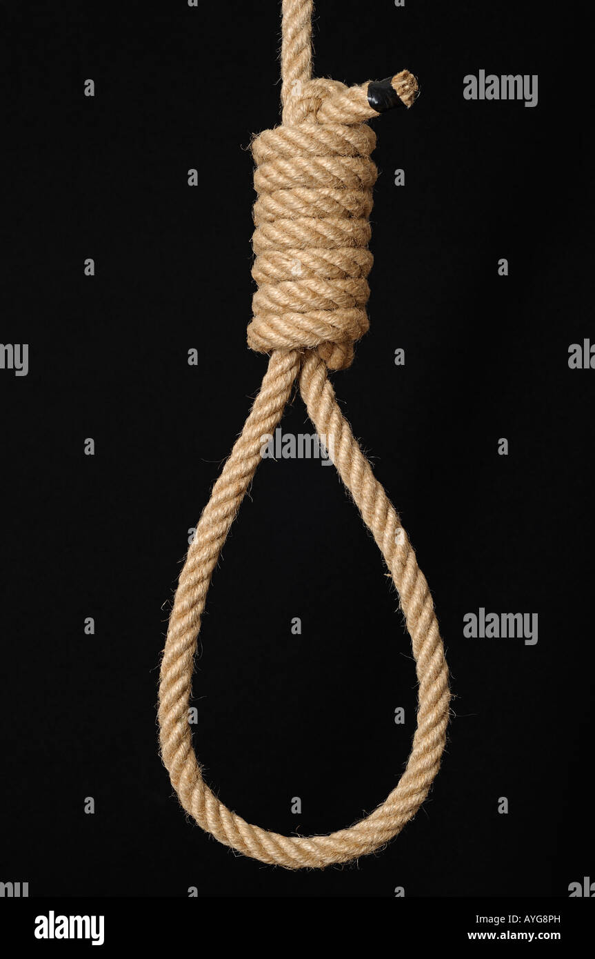 Hangmans Noose Against a Black Background Close Up - Stock Image