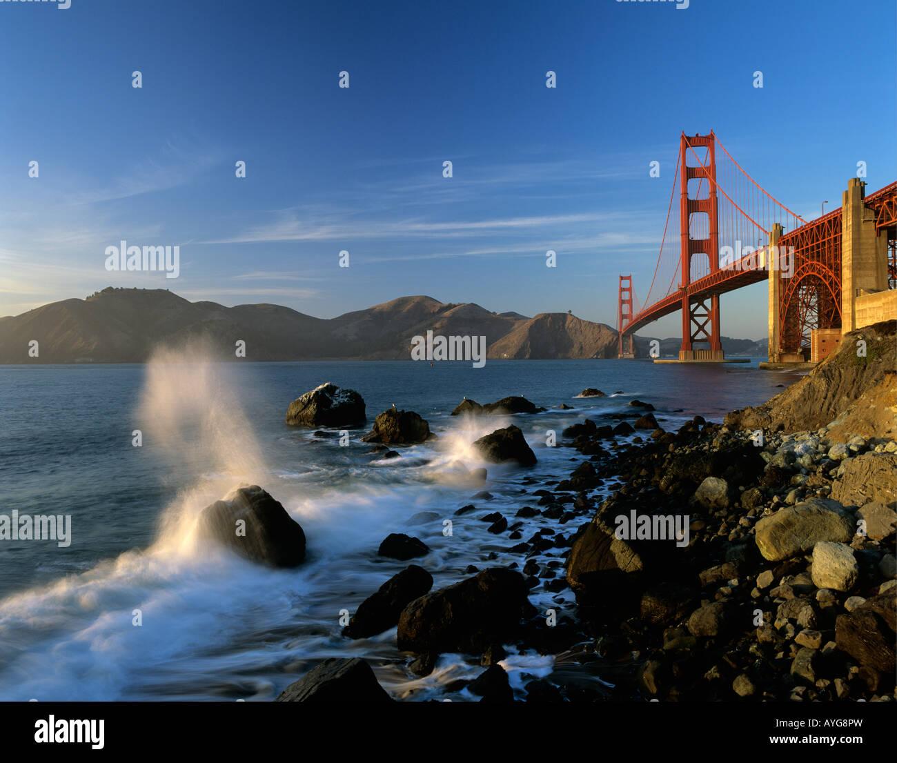 Golden Gate Bridge San Francisco California Sunset Picture: Sunset Light On Golden Gate Bridge From Baker Beach With
