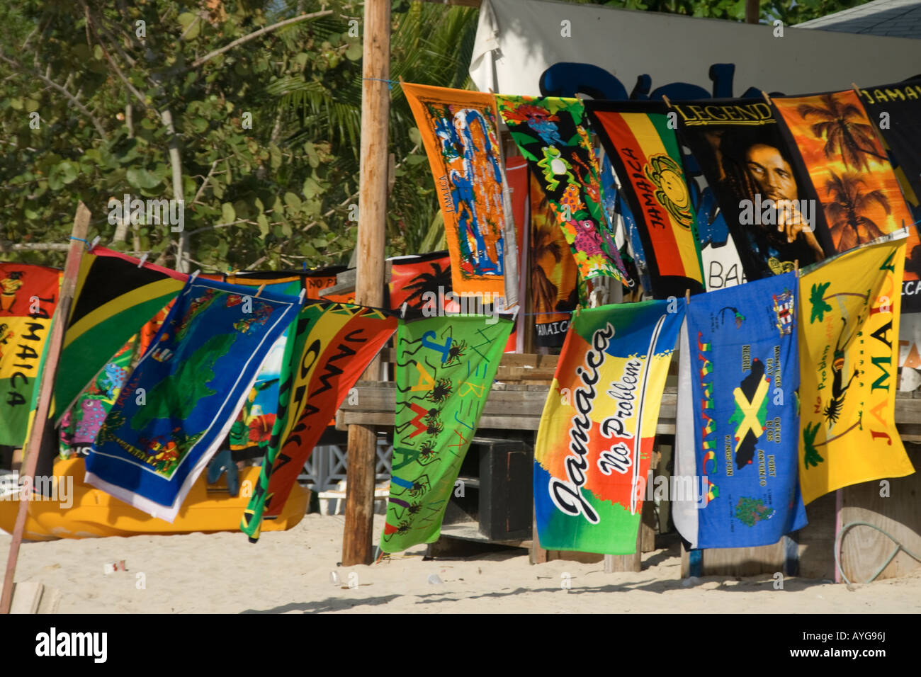 Jamaica Negril beach bath towles with jamaican motives Bob Marley Legend bath towel - Stock Image