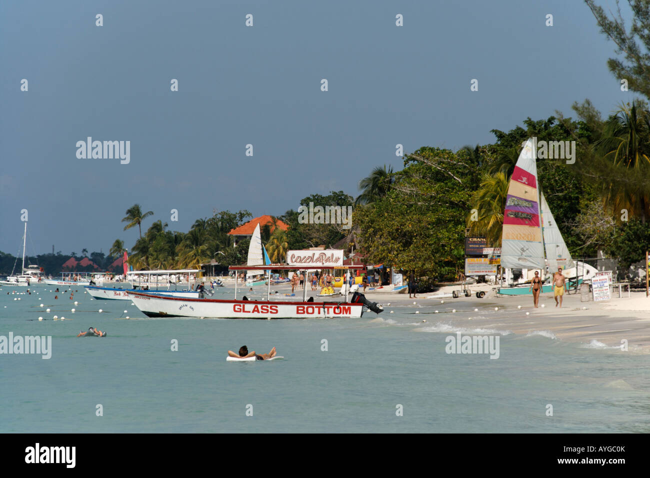 Jamaica Negril beach glass bottom boat - Stock Image