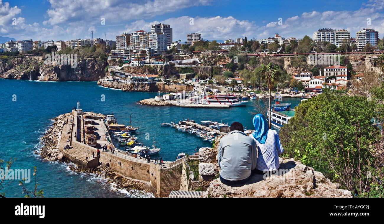 Looking at marina in Antalya, Turkey - Stock Image