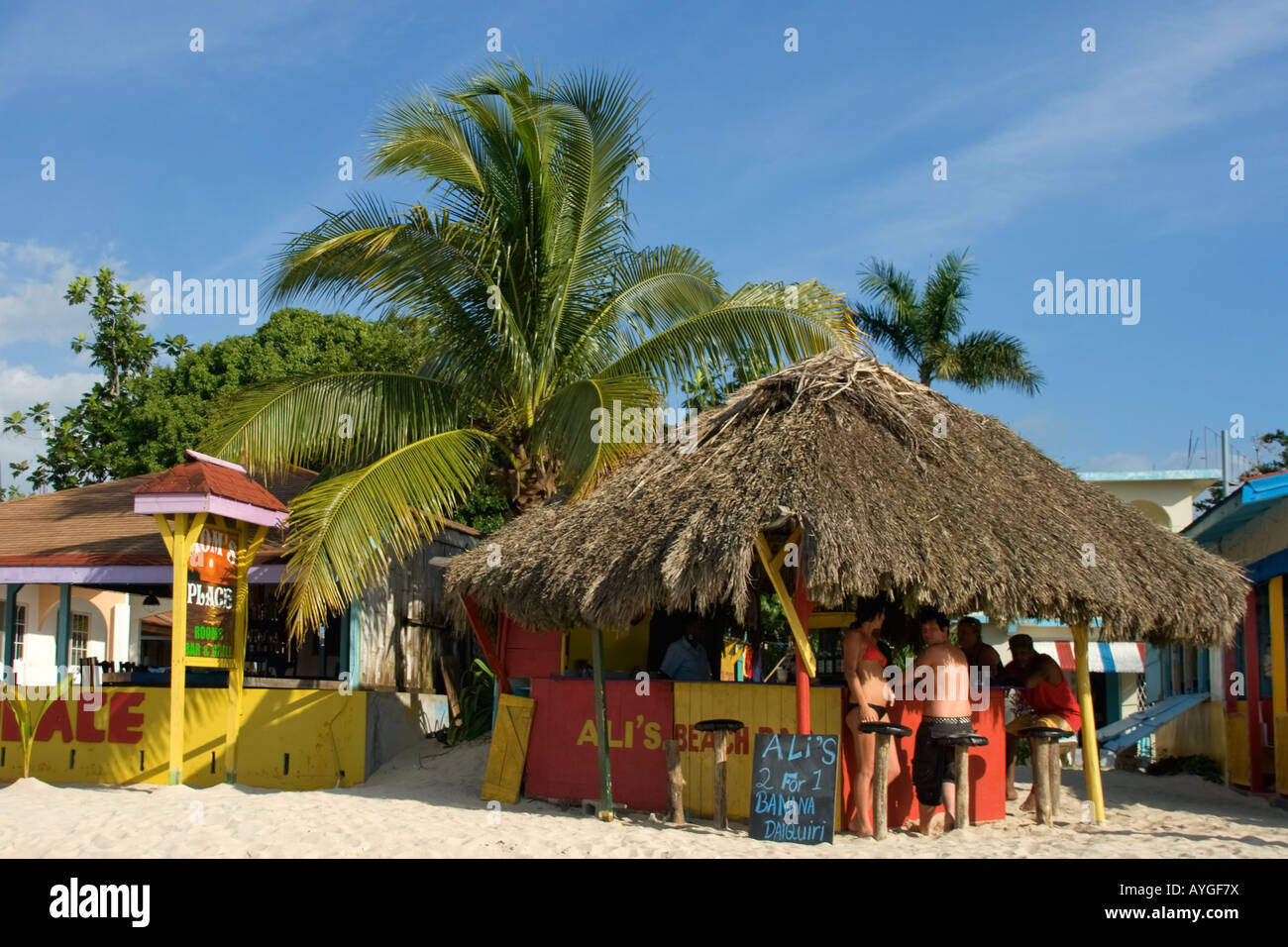 Jamaica Negril beach bar - Stock Image
