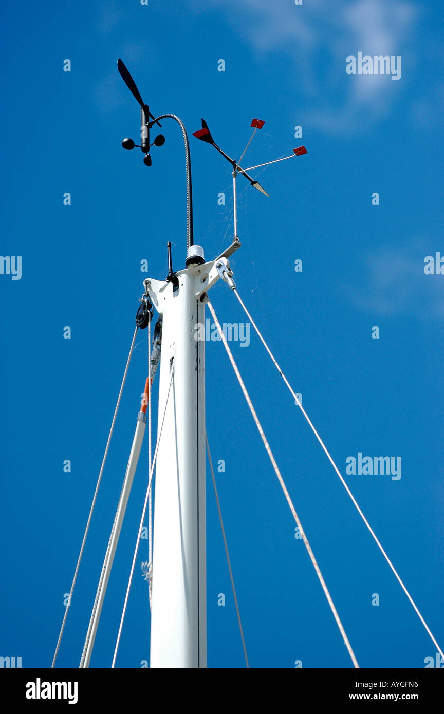Wind speed and direction weather station atop a mast on a