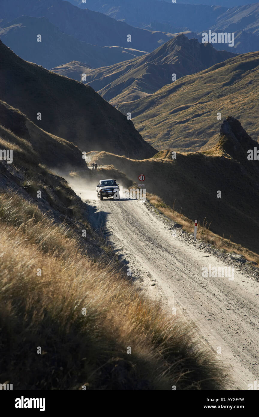 Four Wheel Drive on Infamous Road into Skippers Canyon near Queenstown South Island New Zealand Stock Photo