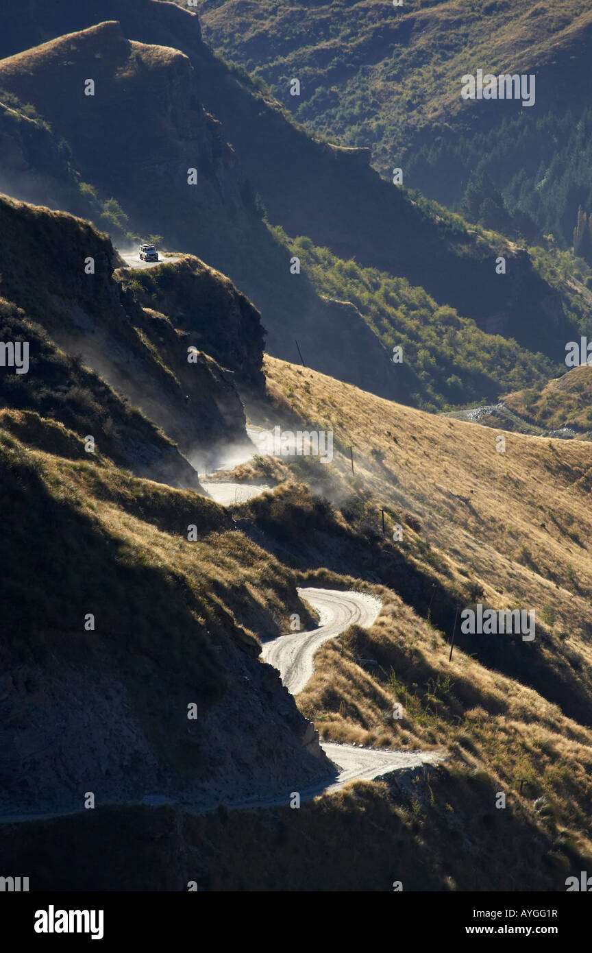 Landrover on Infamous Road into Skippers Canyon near Queenstown South Island New Zealand Stock Photo
