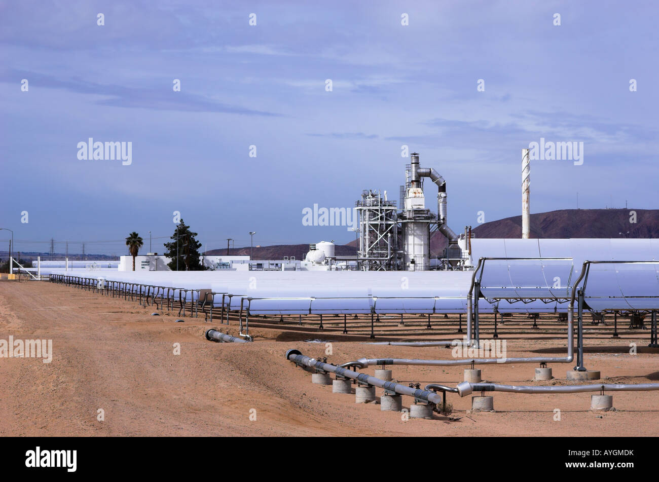 Solar Electric Generating Systems power plant in Daggett, Mojave desert, California, USA. - Stock Image
