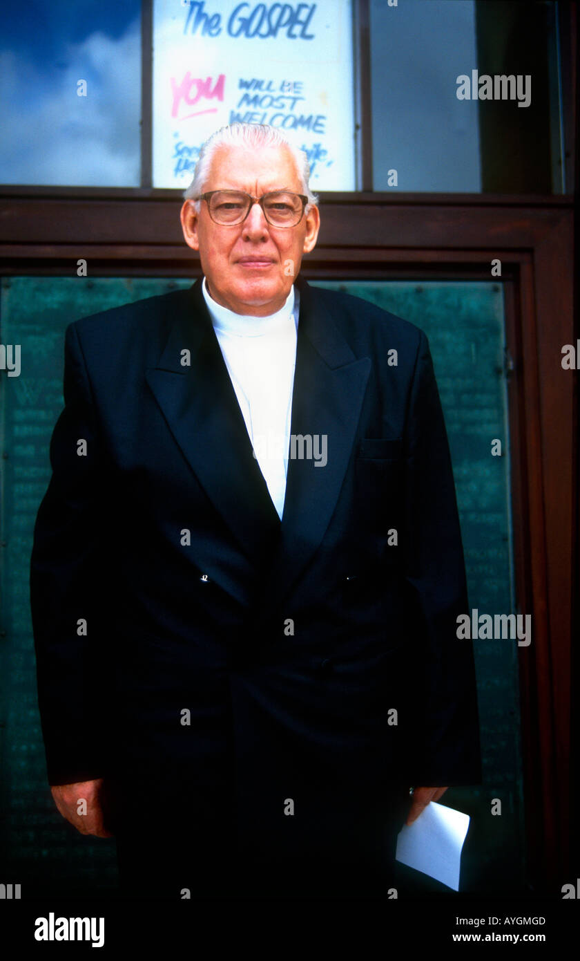 Rev Ian Paisley MP DUP leader loylist politican after his Sunday service at Martyrs Memorial Free Presbyterian Church, Belfast. - Stock Image