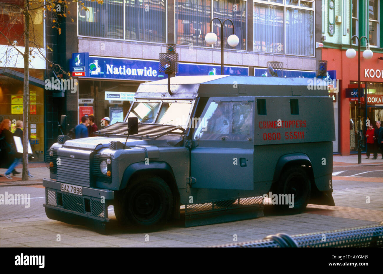 heavily reinforced armoured police car in Central Belfast Northern Ireland - Stock Image
