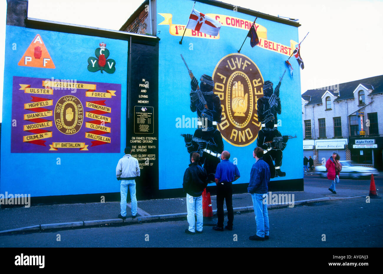 Murals on the streets of Shankhill Rd depicting the paramilitary struggles of the Loyalists West Belfast Northern Ireland - Stock Image