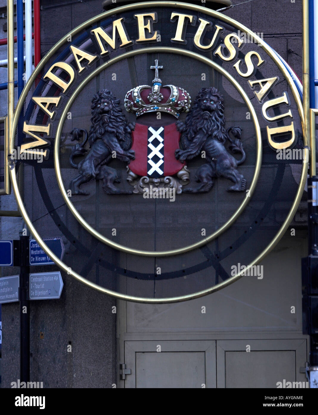 Sign at Madame Tussaud wax museum Amsterdam The Netherlands - Stock Image