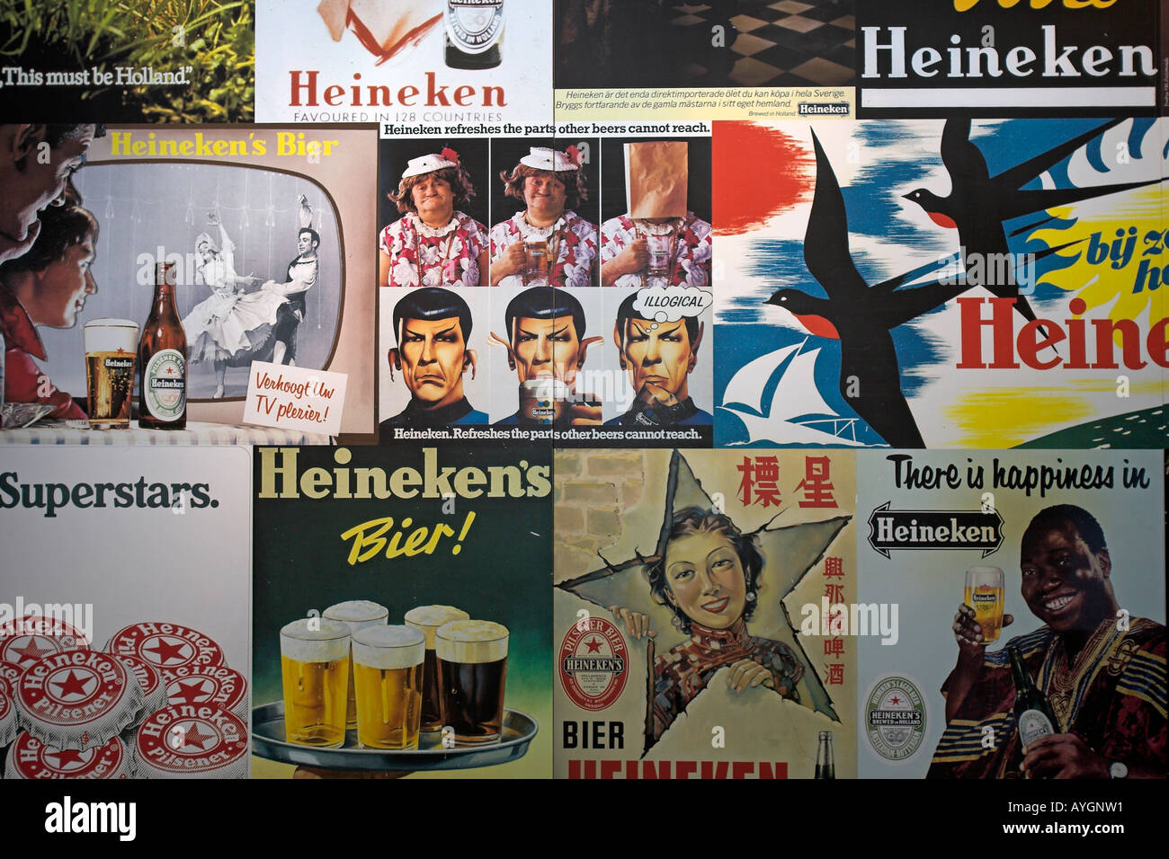 Collage of beer adverts containing slogans Heineken Experience Amsterdam The Netherlands - Stock Image