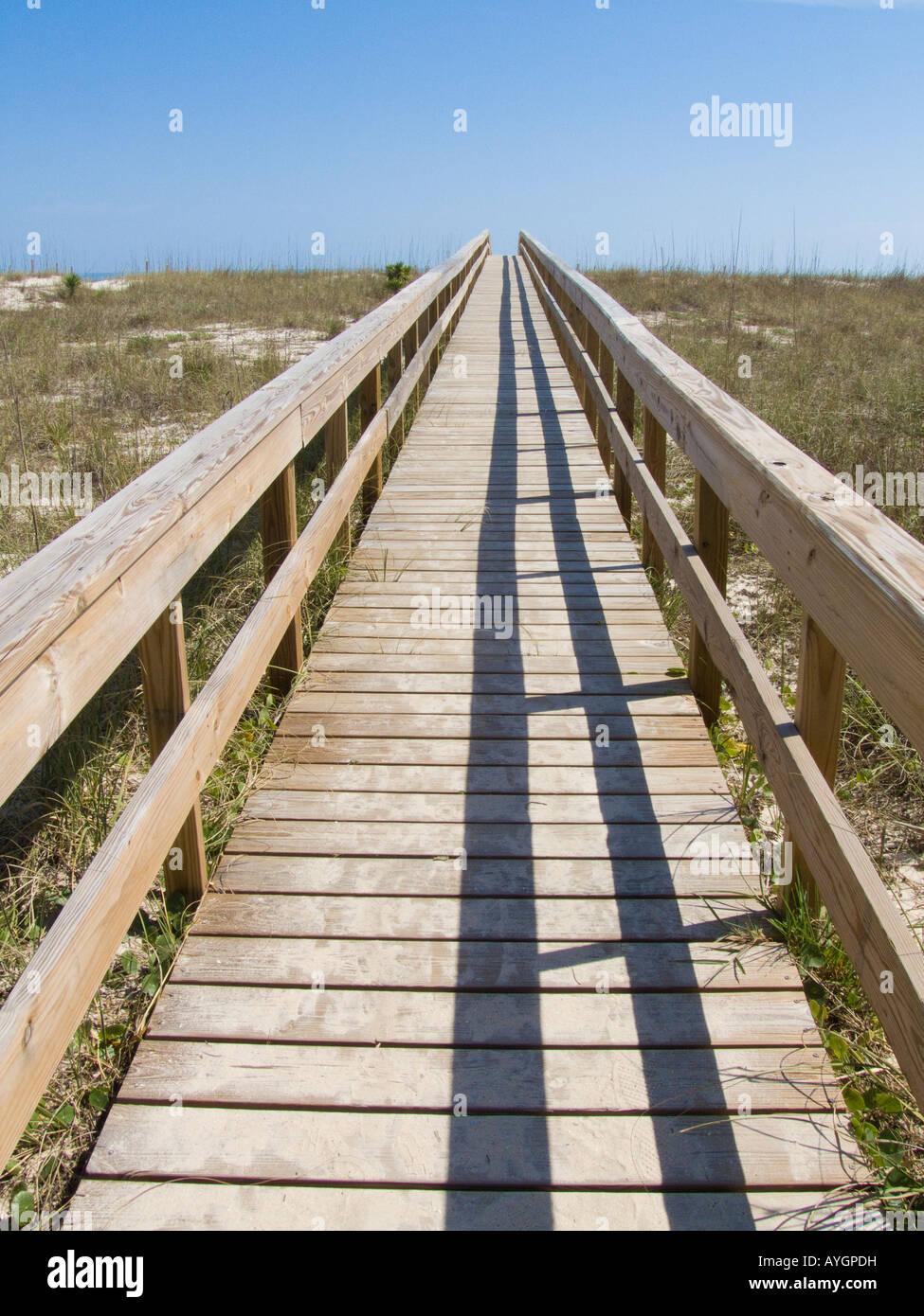 St George Island boardwalk pathway dune trail crossover crossing platform summer - Stock Image