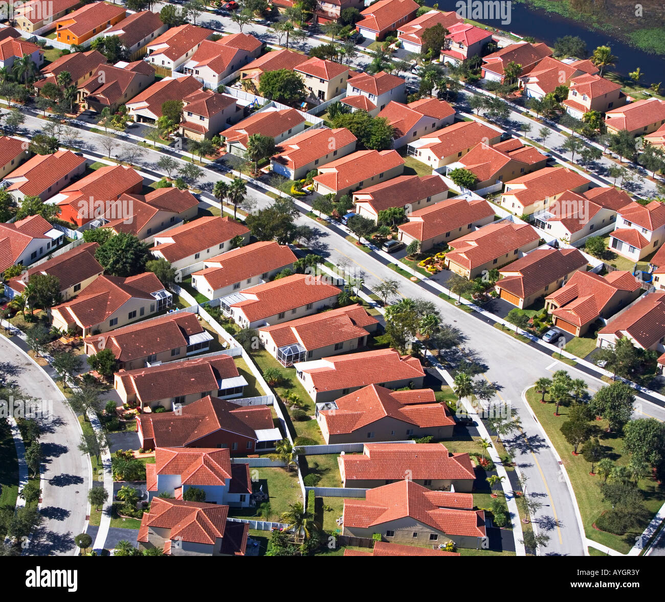 aerial of housing community - Stock Image