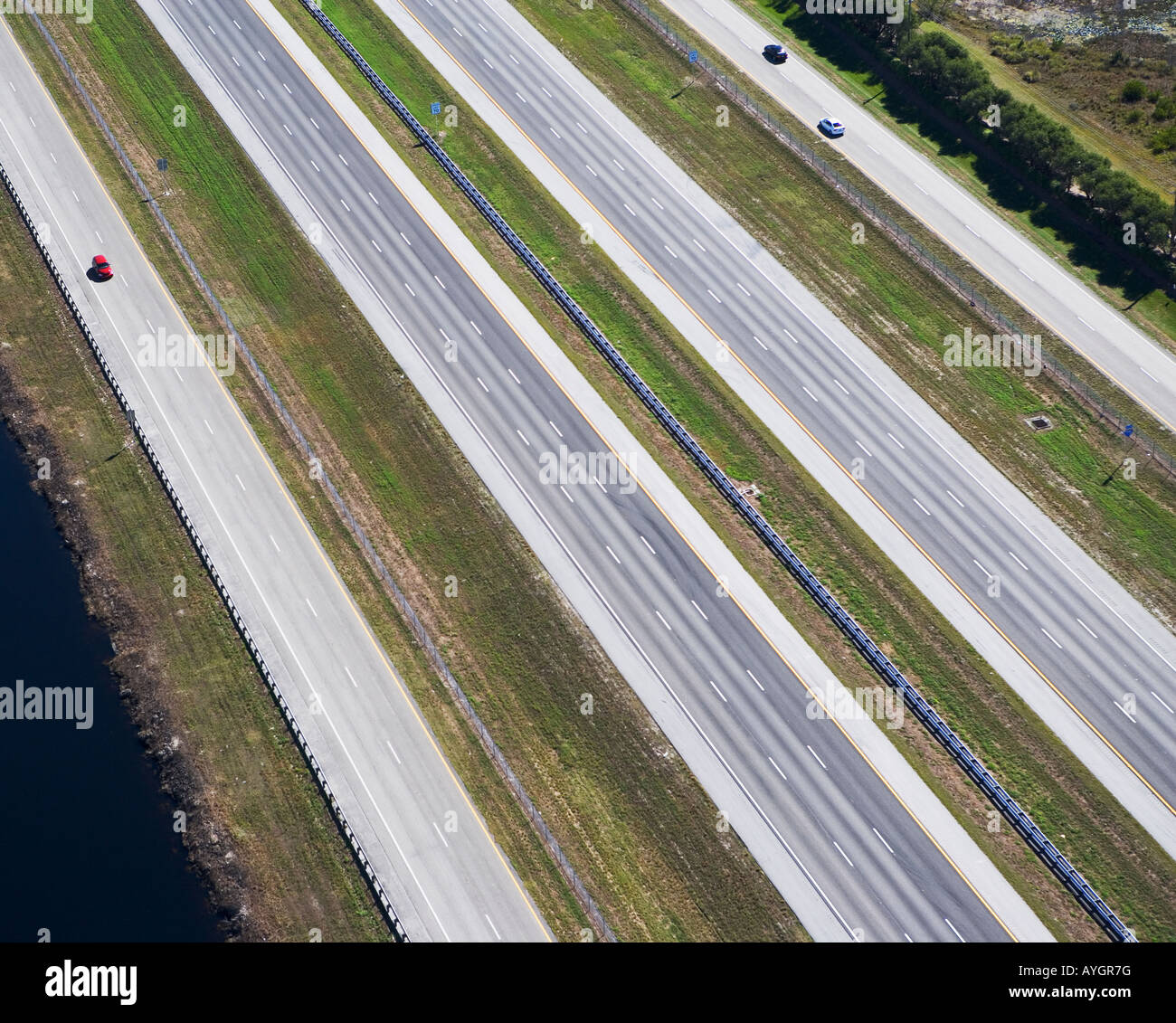 aerial view of roadway,highway - Stock Image
