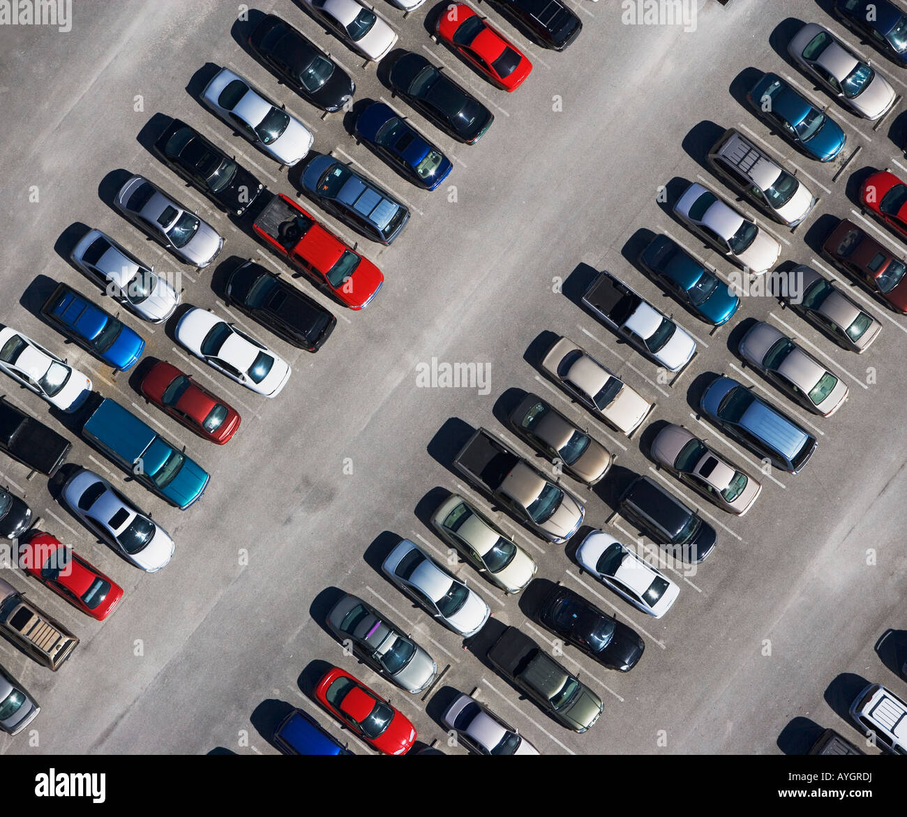 aerial veiw of cars in parking lot - Stock Image