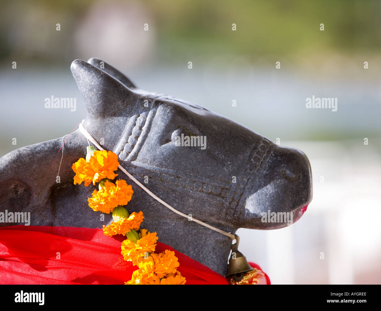 Garlanded and draped figure at Hindu Temple Pilgrimage site at Grand Bassin - Stock Image