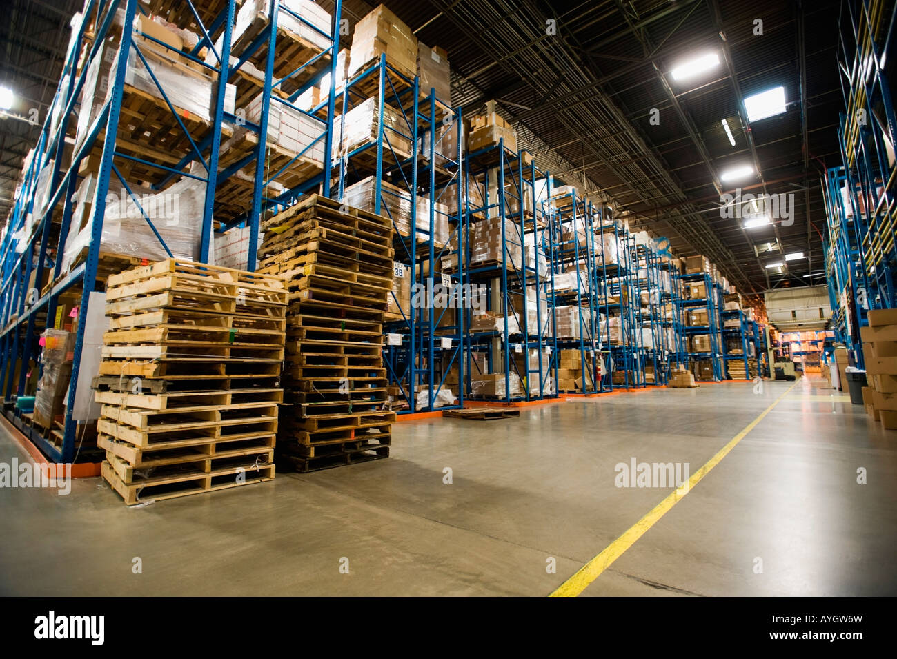 Interior view of warehouse - Stock Image