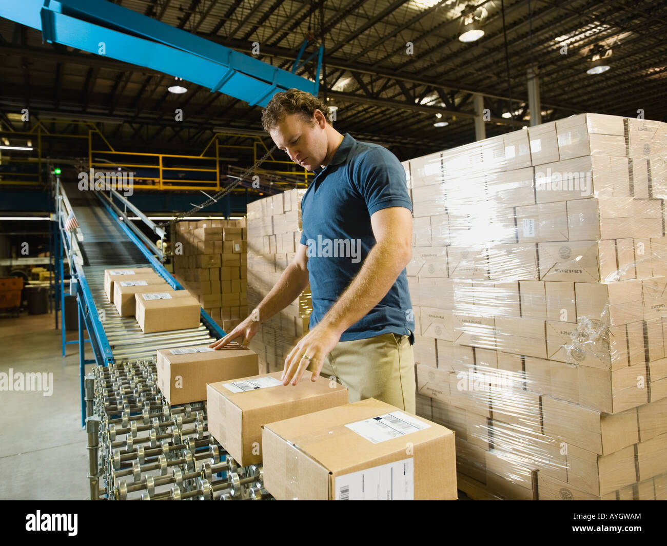 Warehouse worker checking packages on conveyor belt - Stock Image