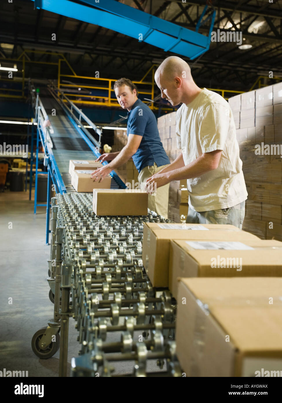 Warehouse workers checking packages on conveyor belt - Stock Image
