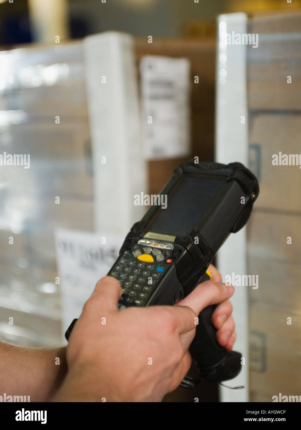 Close up of package scanner - Stock Image