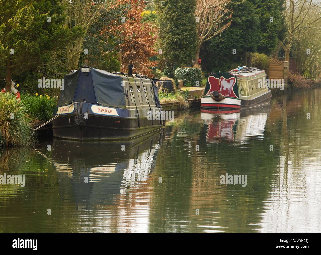 Narrow boats moored on the Grand Union Canal near Batchworth Lock Rickmansworth, Herts, West London - Stock Image