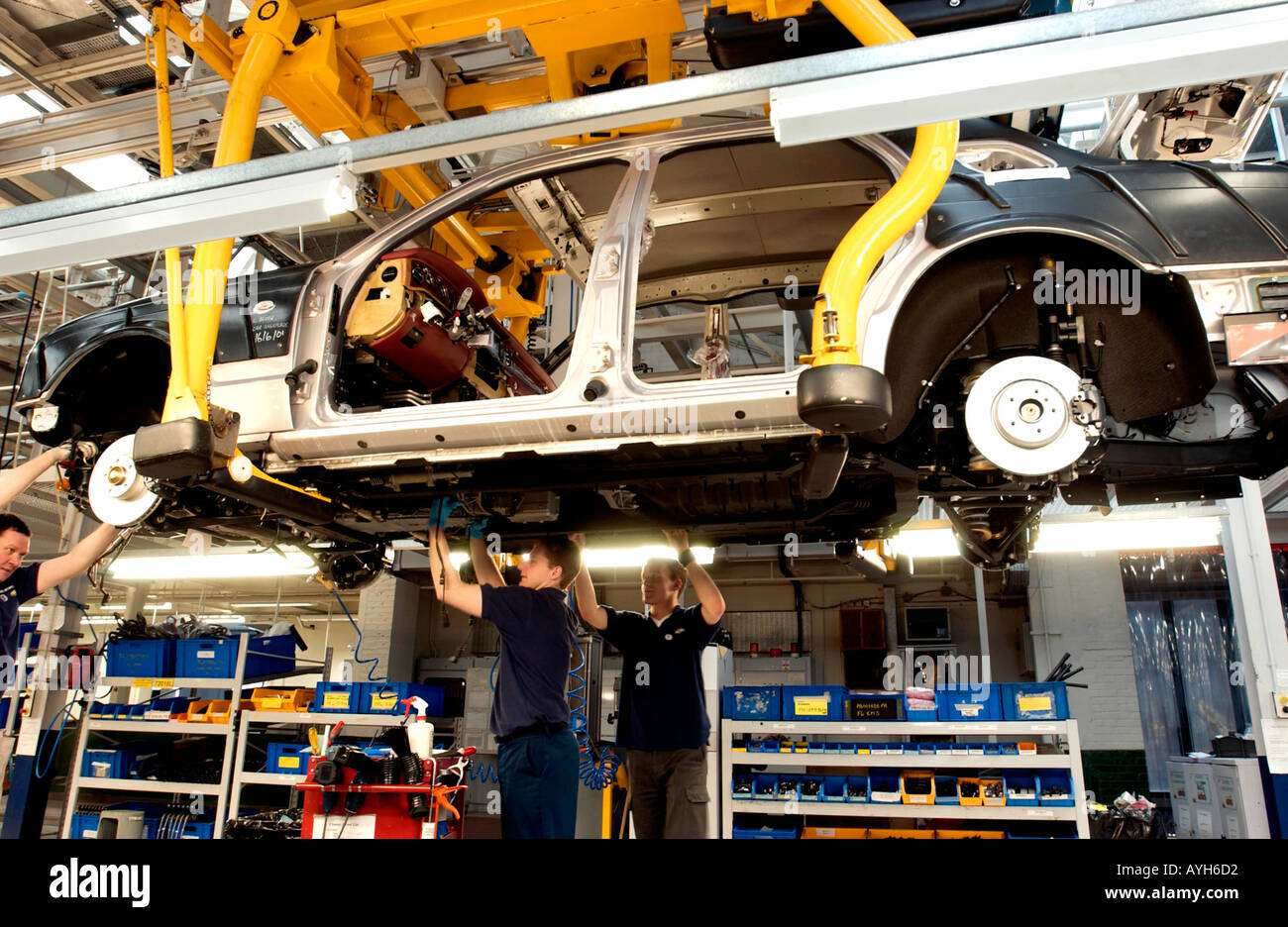 Bentley Motors and Rolls Royce Cars production line at Crewe Cheshire UK - Stock Image