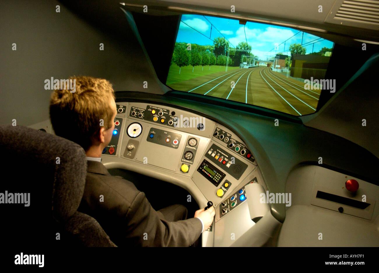 Virgin trains simulator at Crewe - Stock Image