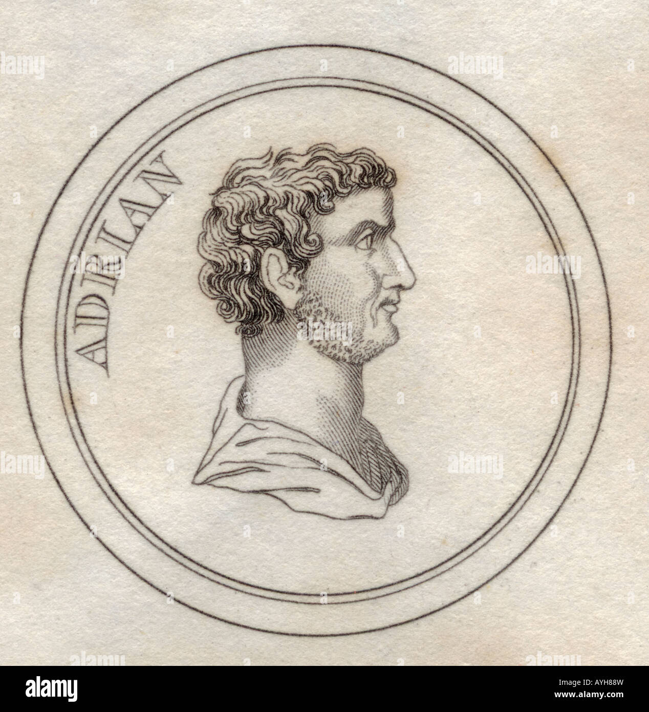 Publius Aelius Traianus Hadrianus BC76 BC138 Roman emperor also known as Hadrian Stoic and Epicurean philosopher - Stock Image