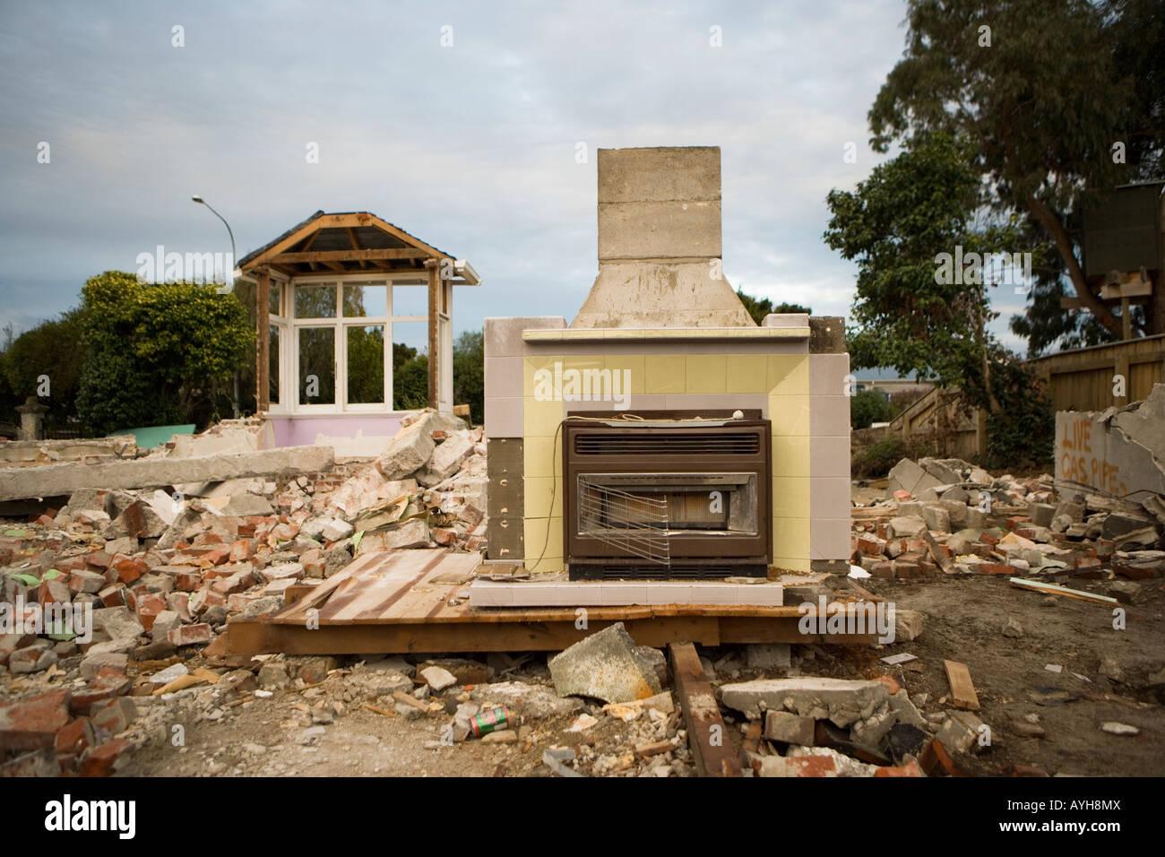 Demolished house Palmerston North New Zealand - Stock Image
