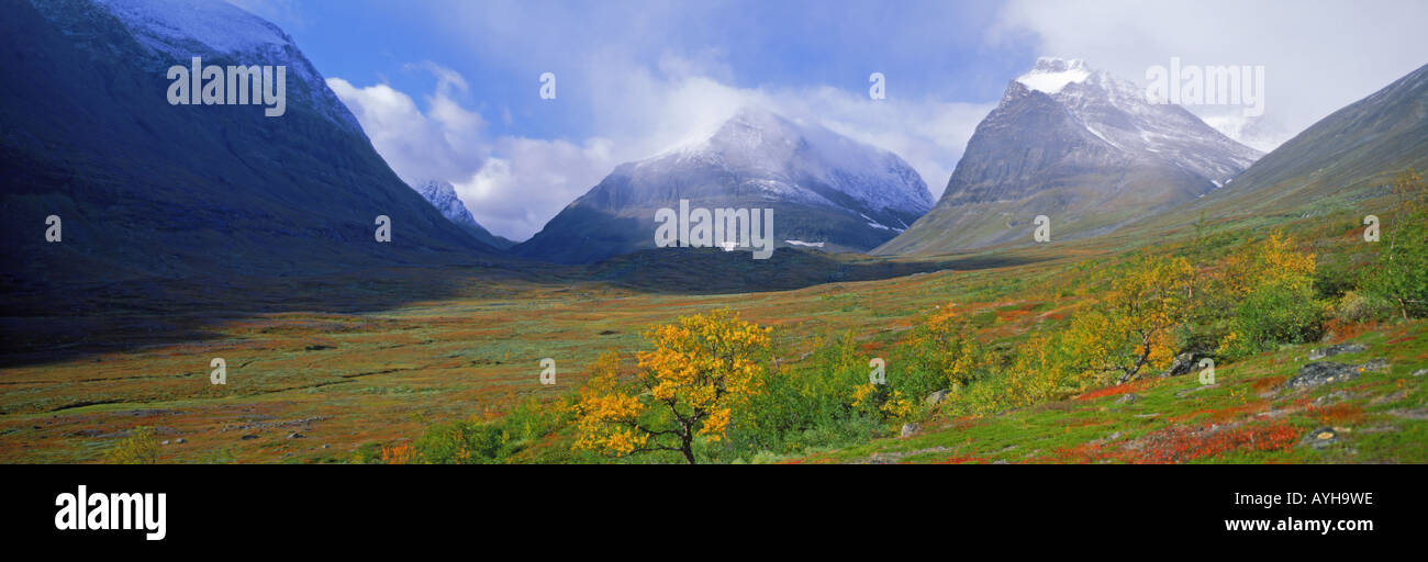 Latjovagge valley in Kebnekaise Mountains in Swedish Lapland - Stock Image