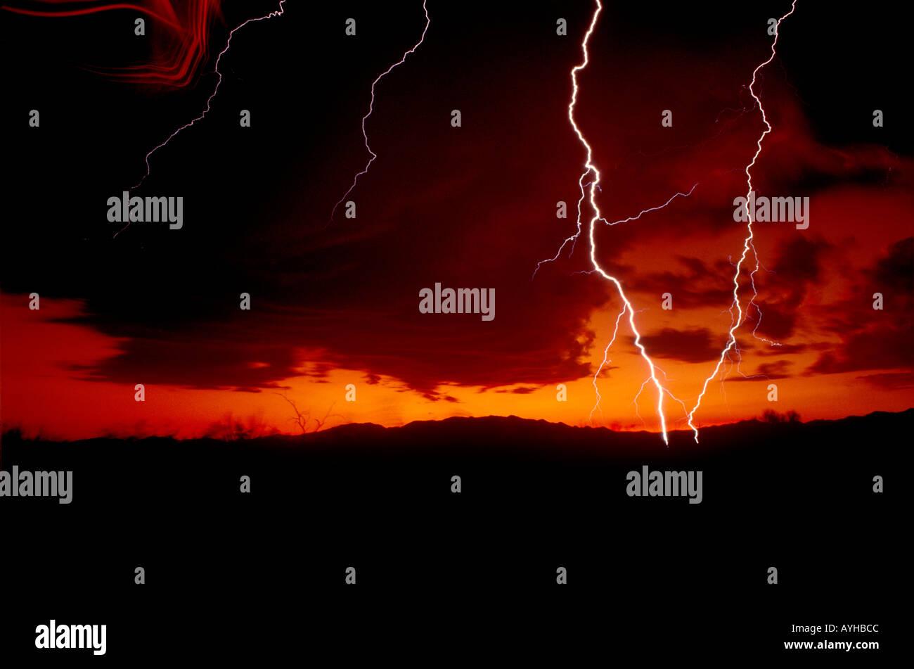 Close striking lightning bolts against natural orange sky