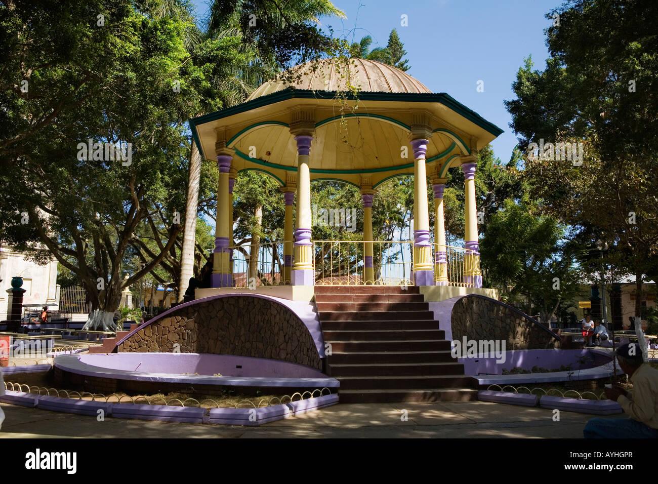 Bandstand gazebo central plaza square Jinotepe Nicaragua - Stock Image
