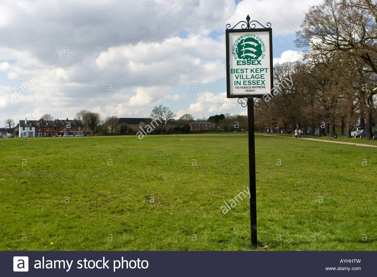 Best Kept Village In Essex sign, Theydon Bois, Essex, UK. - Stock Image