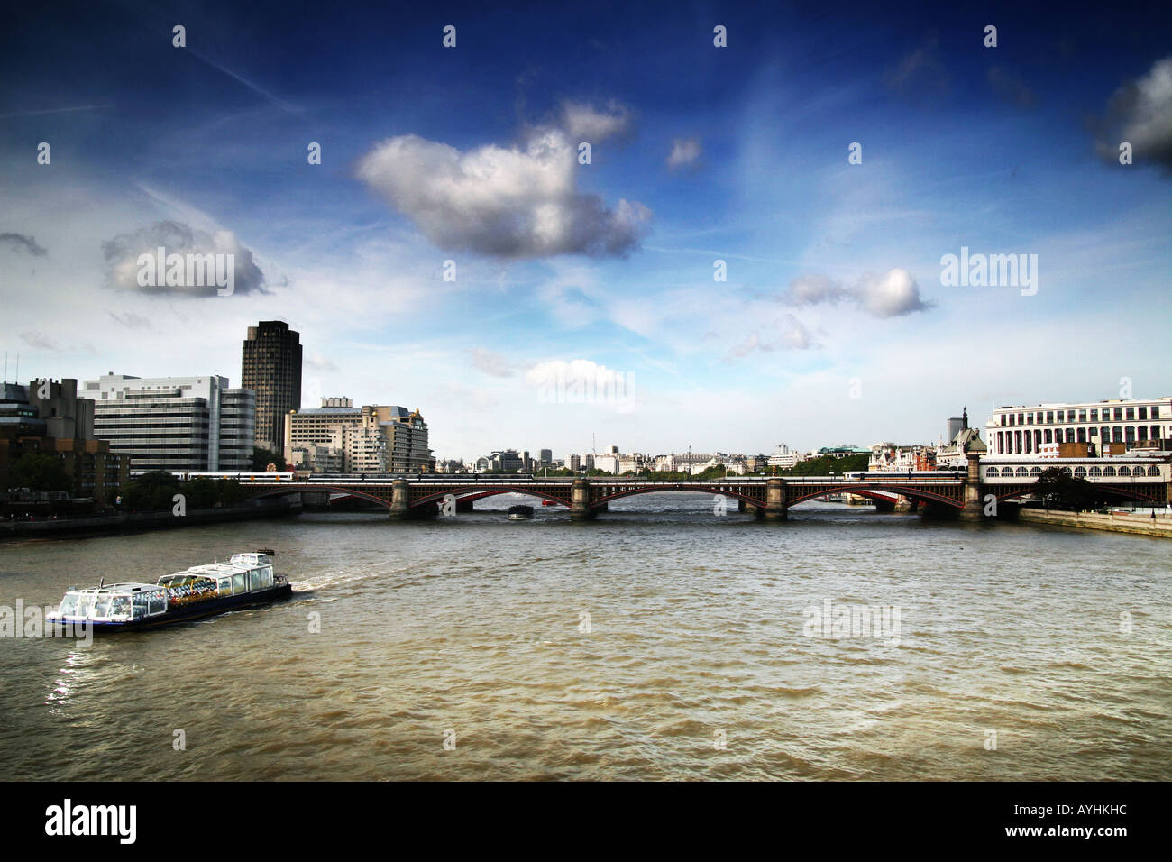 view of  the River Thames and London from the Millennium bridge Stock Photo