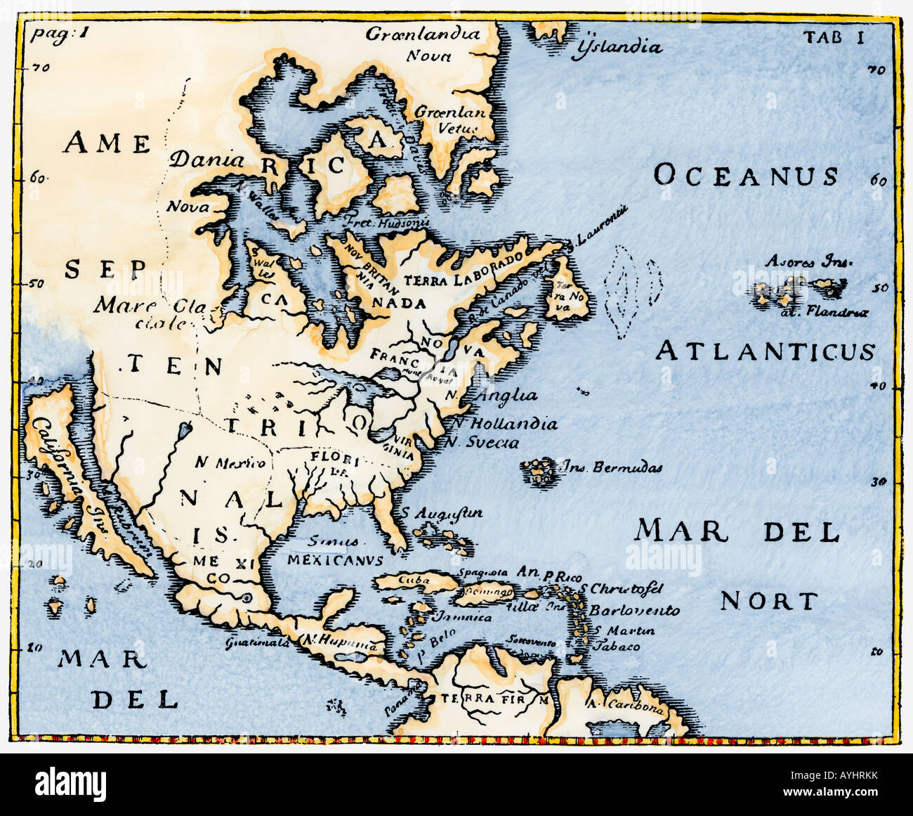 Map of North America as known in the mid-1600s with California as an island. Hand-colored woodcut - Stock Image