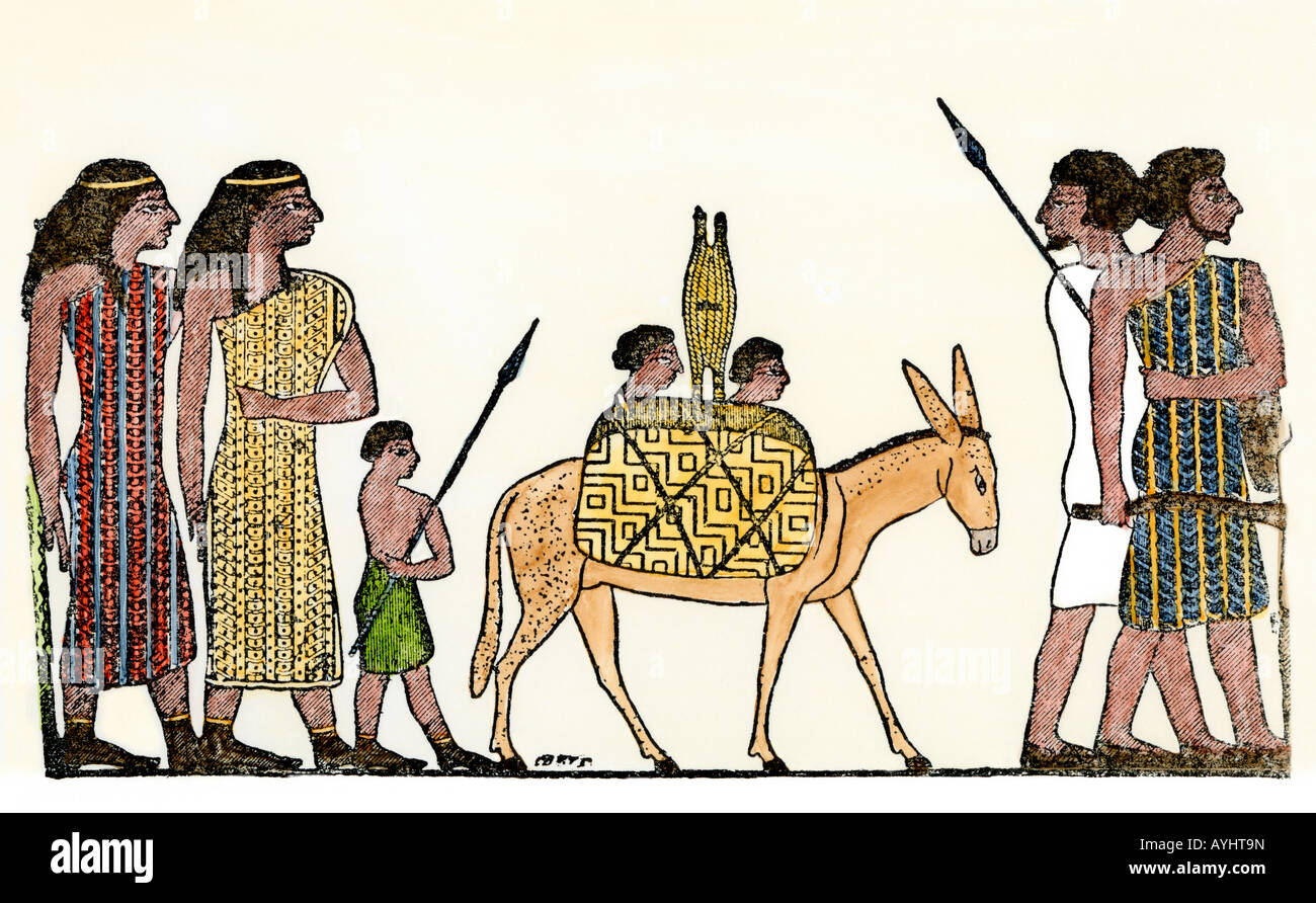 Arrival of a Semitic family group in ancient Egypt. Hand-colored woodcut - Stock Image