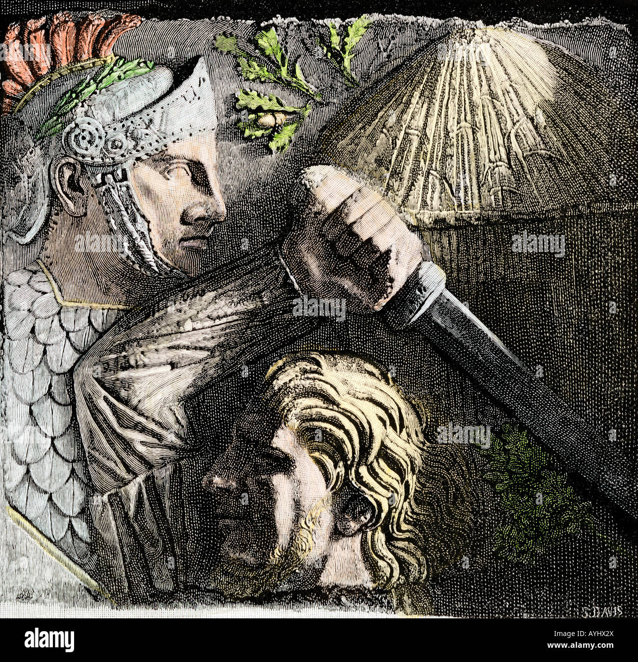 Roman soldier and Celtic warrior and an oak cluster from the column of Antoninus in Rome. Hand-colored woodcut - Stock Image