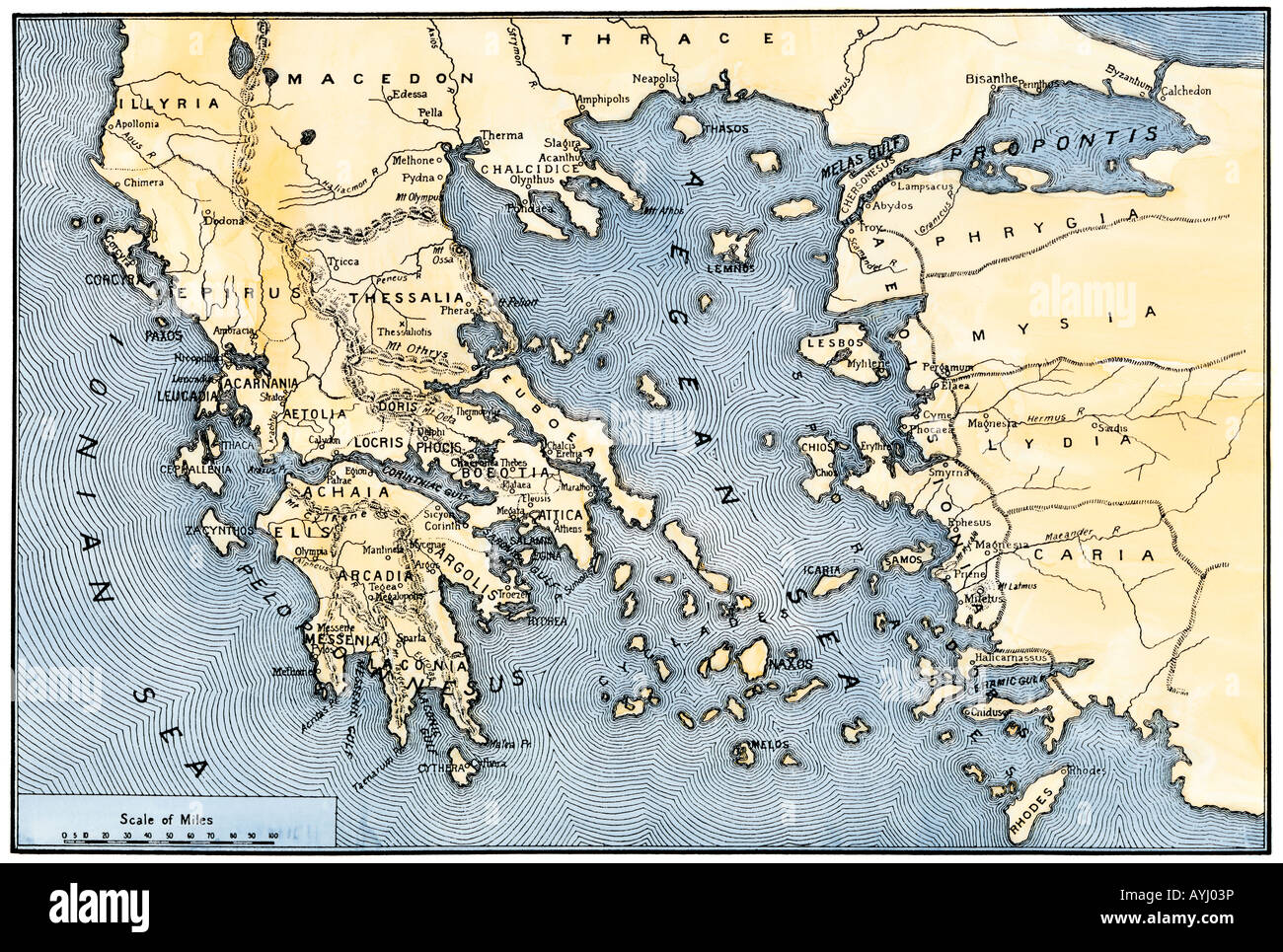 Map of ancient Greece and its colonies. Hand-colored woodcut - Stock Image