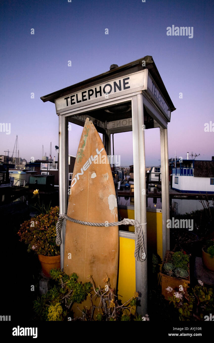 Modified remnant of a telephone booth in a houseboat community near San Francisco. - Stock Image