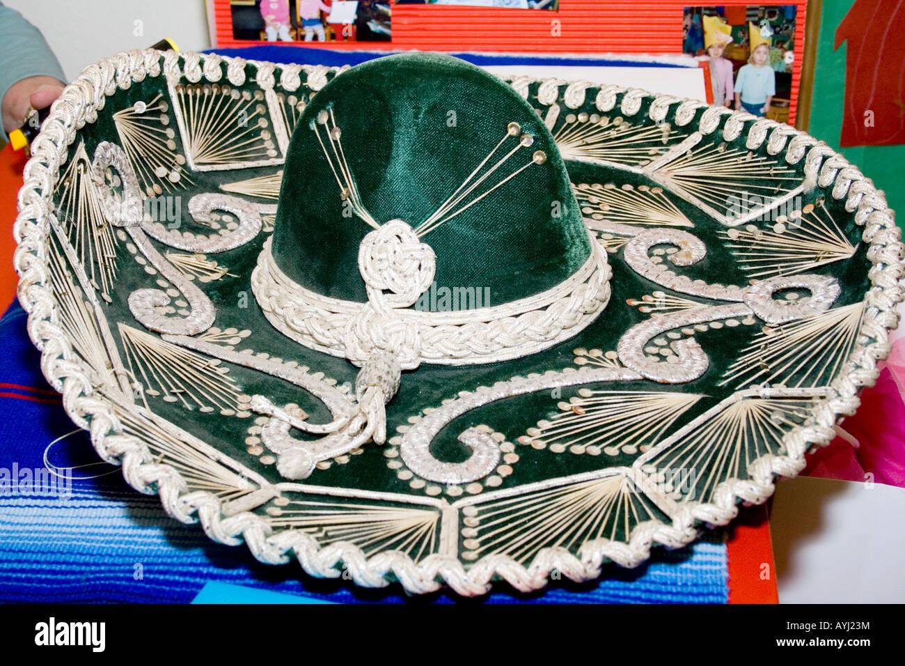 Decorative fancy Cinco de Mayo sombrero wide brimmed Mexican hat. St Paul  Minnesota USA 78e12c637ca