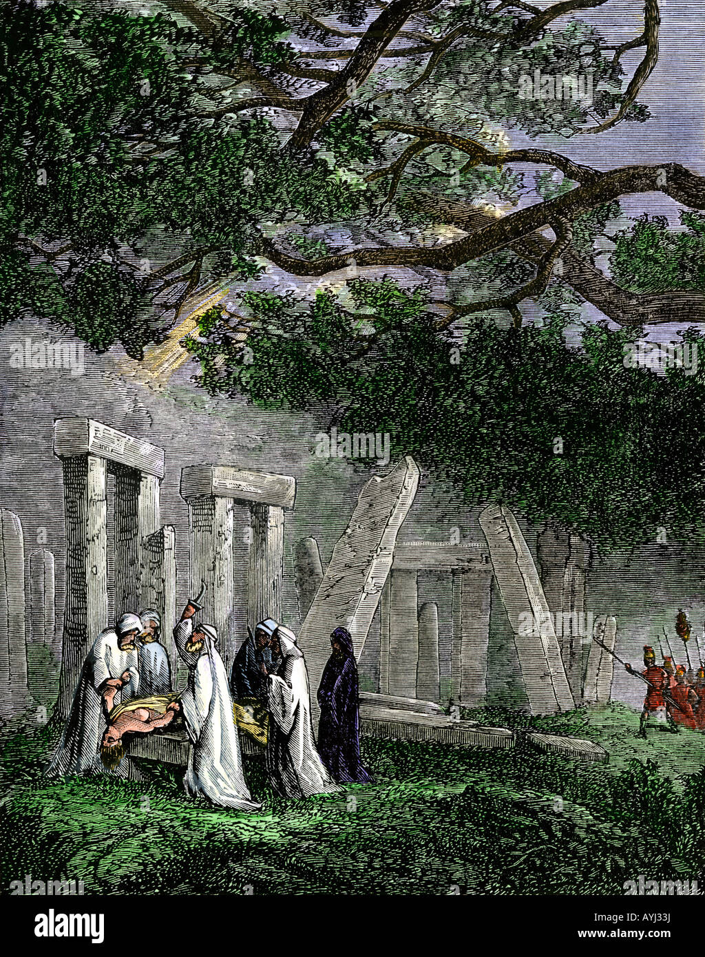 Druid human sacrifice at Stonehenge halted by Roman soldiers. Hand-colored woodcut - Stock Image